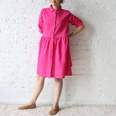 islington dress in pink linen