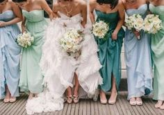 same brides maid dresses in the same colour but different shades. by lee