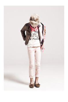 Vêtements enfant : Veste biker et pantalon rose fille