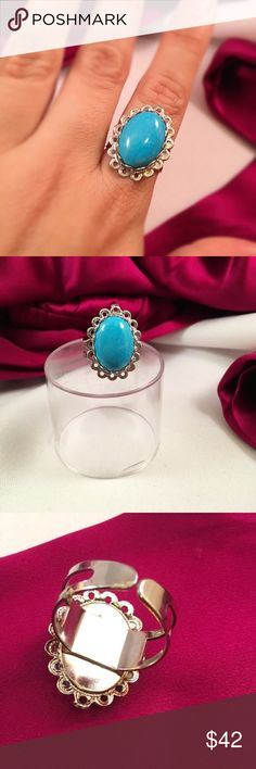 VINTAGE Sleeping Beauty Turquoise Cameo Ring vintage natural stone, looks to be sleeping beauty turquoise. mounted in a old filigree cameo case that was recently dipped in silver and mounted on a fully adjustable band. great match of old meets new💕 Vintage Jewelry Rings