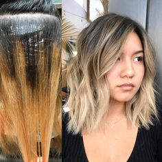 Medium, Beachy Waves with Ombre Highlights - 40 On-Trend Balayage Short Hair Looks - The Trending Hairstyle Short Dark Hair, Short Hair Cuts, Short Hair Styles, Butter Blonde, Cute Hair Colors, Looks Chic, Trending Hairstyles, Hair Color Balayage, Hairstyles With Bangs