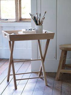 Talbot Raw Oak Butler's Tray Table