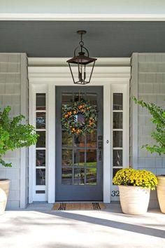 Beautiful Farmhouse Front Door Entrance Decor And Design Ideas - Front Exterior Best Home Design Grey Front Doors, Beautiful Front Doors, Front Door Entrance, Entrance Decor, Front Door Colors, Glass Front Door, Front Door Decor, Front Door Lighting, Front Entrances