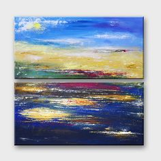 Abstract acrylic art 24x24 DIPTYCH SUNSET painting by artbyasta