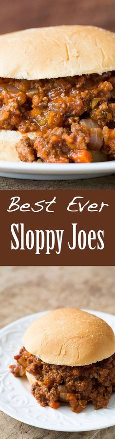 Best Ever Sloppy Joe ~ An American kid-friendly classic! Sloppy Joe recipe with browned ground beef, onions, garlic, carrots, celery, cooked in sweet sour tomato sauce, served over hamburger buns. ~ SimplyRecipes.com