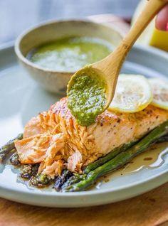 papillotes de saumon asperges sauce pesto avocat ail citron #recipes