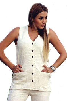 Natur weißes Rundhals Träger Damen #Top Shirt #Sommershirt 100% ökologische strukturierte Pima Baumwolle #Biobaumwolle