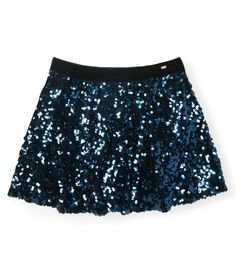 Sequined Mini Skirt, which features an elegant velvet waistband and ultra-comfy lining. Whether you're dancing the night away or just hanging out with your friends, this flouncy skirt moves with you in all its shimmering glory. #Aeropostale