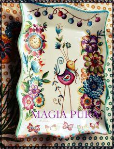 Plato pajaro y flores