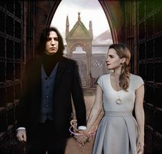 Snamione : Holding Hands by OpalChalice on DeviantArt Snape And Hermione, Alan Rickman Severus Snape, Boys Don't Cry, Hogwarts, Holding Hands, Harry Potter, Deviantart, Dresses, Pride