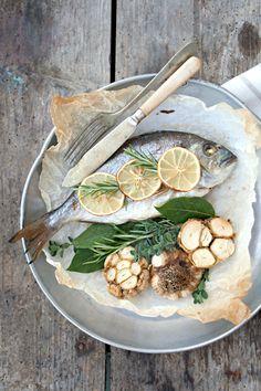 Fish and roasted garlic