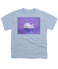 Youth T-Shirt,  kid's apparel, casual, outfit, wear, clothing, summer, blouse, designed, artistic, unique, blue, purple,swan