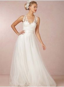 DARIA - A-line Chapel train Tulle V-neck Wedding dress
