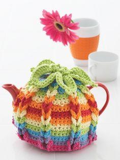 Hot Hibiscus Tea Cozy   Yarn   Free Knitting Patterns   Crochet Patterns   Yarnspirations