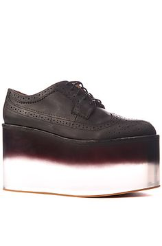 Jeffrey Campbell Shoes Washed Leather and Fade Clear Lucite Platform in Black: 4.5 inch heel! Limited, only 30 pairs made