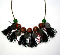 Swati's very special, Wandering Coins and Tassels Necklace in Red and Black, a true piece of art for a very special goddess..will it be you? #beagoddess