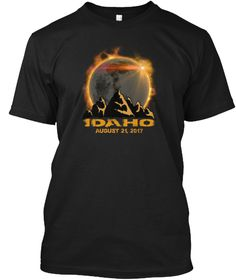 Idaho Total Solar Eclipse T Shirt  Black T-Shirt Front