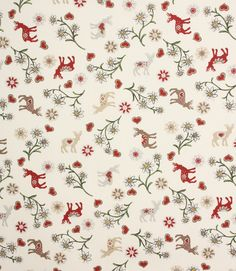 Christmas Forest fabric is a Scandinavian style printed cotton fabric depicting reindeer, hearts and flowers. A lovely Christmas fabric that is perfect for all your Christmas crafting! Would make great tablecloths as it is washable at 40 degrees.