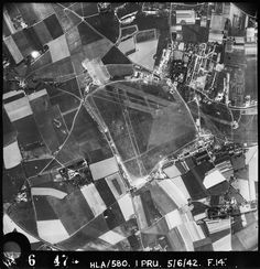 Aerial photograph of Manston airfield looking south the technical site is at the bottom right of the airfield, 5 June 1942. Photograph taken by No. 1 Photographic Reconnaissance Unit, sortie number RAF/HLA/580. English Heritage (RAF Photography).