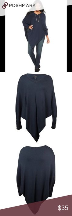 Alfani Women's Prima Asymmetrical Poncho Sweater Stylish and Warm Poncho Sweater.  Easy to wear pullover sweater!   Features  41% Viscose/34% Nylon/18% Cotton/7% Wool Country of Origin: China Knit fabric Long sleeves No lining Pullover style V-neck Product Attributes  Age GenderWomens ColorModern Navy Color ClassBlue Regional Size ClassificationUS Shirts & Tops Size3X Size ModifierPlus Top StyleBlouses Alfani Sweaters Shrugs & Ponchos