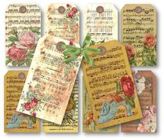 music sheet with roses scrapbooking gift tags