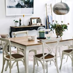 Provincial Oak Table White with 6 Cross Back Chairs Vintage White Package - Packages - Dining Oak Dining Room Chairs, Cross Back Dining Chairs, Fire Pit Table And Chairs, Bentwood Chairs, Cross Back Chair, Fur Chairs, Dining Table, Pink Chairs, French Provincial Table