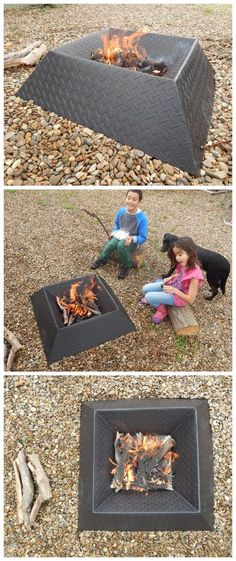 How to Make a Cool and Compact Fire Pit from Half a Sheet FIRE PITS AND OUTDOOR FIREPLACES : More At FOSTERGINGER @ Pinterest