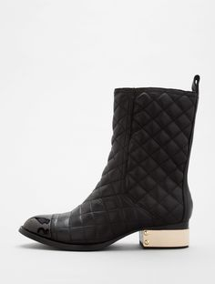 Zhora boots by Jeffrey Campbell. leather quilting. hardware lined heel. patent cap toe.