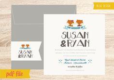 Printable Cute Fox Wedding Invitation - DIY - PDF File - Wedding Invitation