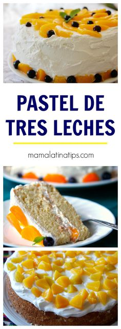 Pastel de tres leches - Mexican Party Food and Drink Ideas - Pastel de Tortilla Mexican Dishes, Mexican Food Recipes, Food Cakes, Cupcake Cakes, Easy Cake Recipes, Dessert Recipes, Baking Desserts, Tres Leches Recipe, Three Milk Cake