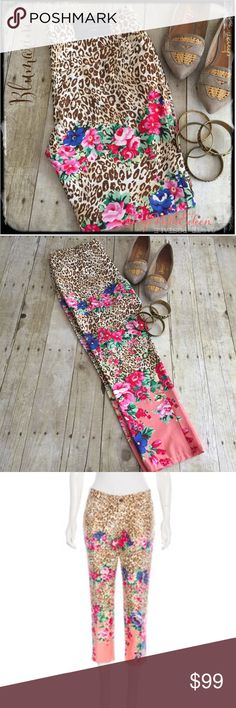 Blumarine Jeans Leopard Floral Capris Pants Blumarine Jeans Anthropologie Leopard Floral Capri pants! AHHHMMAAZZIINNG!!! These are the most amazing capris in leopard print and a gorgeous floral done in hot pink fuchsia light pink white royal blue and a tiny bit of red! Gorgeous! Five pocket styling with button and zipper closure, & belt loops. The bottom of the Capri is done in a gorgeous coral color. These will be so fabulous for the summer season ! NWOT Blumarine Pants Capris