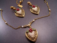 1928 Jewelry Company Victorian Hearts Pendant and by LucyLucyLemon, $24.99