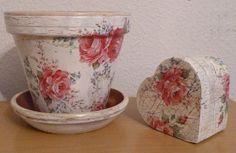 Handmade decoupage flower pot with matching keepsake box