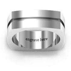 £109 (from £159) Fissure Grooved Square-shaped Men's Ring