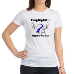 ALS Disease Awareness Every Day I Miss My Hero shirts, apparel and gifts featuring our original hand-drawn angel wings with an awareness ribbon