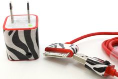 No more plain chargers for me! Zebra Print on red iPhone Charger Set  includes by LunatixGraffiti, $14.99