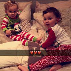 Eduardo and Emilia on christmas pyjamas @jonathanjoly @annasaccone @erikasaccone @margaretsaccone @tash489