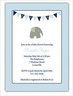 Elephant Baby Shower Invitation - Boy - Personalized DIY Printable - Navy and Pool Blue Polka Dot. $10.00, via Etsy.