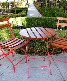 cosco 3 piece folding bistro style patio table and chairs set red
