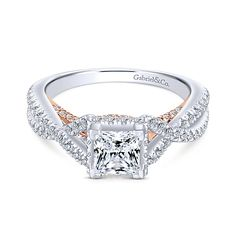 39c88023699fe6 Caroline 14k White And Rose Gold Princess Cut Twisted Engagement Ring angle  1 Engagement Rings Princess