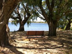 Bardon Park, Maylands, Western Australia. 2 Playgrounds, lakes, picnic benches, barbecues and river beach.