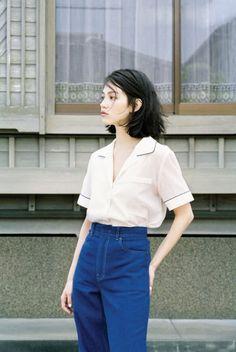 A pyjama top tucked into high-rise blue pants. Kiko Mizuhara for Marie Claire Korea, June 2015.