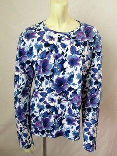 Jones New York Signature Blue Floral 100% Cotton Crew Neck Long Sleeve Top XL #JonesNewYork #KnitTop #Casual