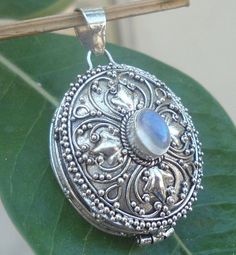 925 Sterling Silver-Balinese Carved Locket Box Pendant Oval With Rainbow Moonstone pendant Size. Clothing, Handcraft, Wood products. Incense products. Hand and custom made jewellery, 925 Sterling Silver.