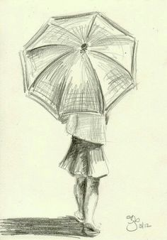 drawing, girl, and umbrella image