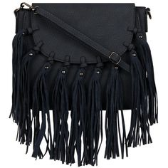 Black Rivet Catarina Fringe FauxLeather Crossbody ($45) ❤ liked on Polyvore featuring bags, handbags, shoulder bags, fringe crossbody, faux leather handbags, shoulder strap bags, flap crossbody and fringe shoulder bag