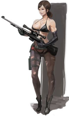 bikini black bikini black gloves breasts brown background brown hair cleavage collarbone front-tie bikini front-tie top gloves gradient gradient background green eyes gun metal gear (series) metal gear solid metal gear solid v mikazuki shigure open m Metal Gear Solid Quiet, Metal Gear Solid Series, Metal Gear Games, Metal Meme, Mgs V, Muscular Women, Black Gloves, Metal Girl, Shadowrun