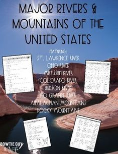 major rivers mountains of the united states labeling a map included