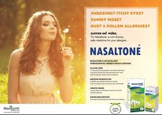 Medisynth Nasaltone Tablets is a non-drowsy, safe and gentle homoepathic formula for the treatment of dust and pollen allergies, fever, headache, cold and flu. Contains Ferrum Phosphoricum 6x, Kali Muriaticum 6x, Kali Sulphuricum 6x, Natrum Muriaticum 6x,
