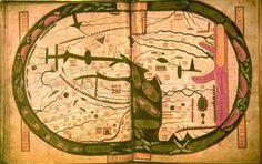 Mapamundi de Sant Sever, amb Àsia a dalt i Europa a baix a l'esquerra